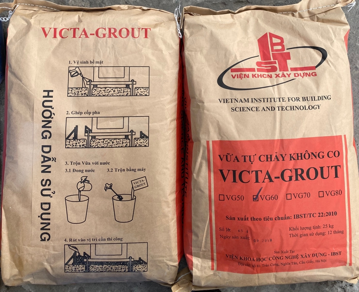 VICTA-GROUT- Vữa không co ngót và có cường độ cao vữa trộn sẵn tự đầm, VICTA-GROUT- Vua khOng co ngot va co cuong Do cao vua tron san tu Dam