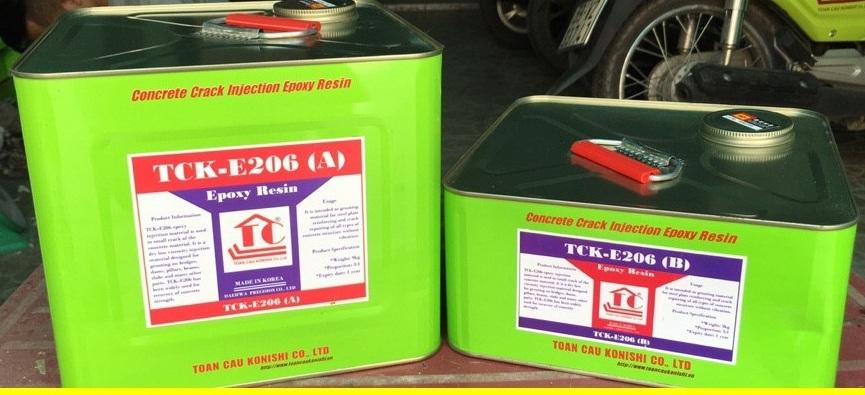 KEO EPOXY TCK - E206 Keo epoxy dùng để bơm sửa chữa vết nứt, EPOXY TCK - E206 Keo epoxy dung De bom sua chua vet nut