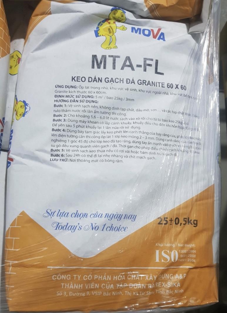 MOVA MTA- FL  là loại vữa keo trộn sẵn, có độ bám dính tốt, MOVA MTA- FL  la loai vua keo tron san, có DỌ bám dính tot